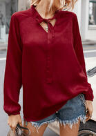 Tie Long Sleeve V-Neck Shirt - Red