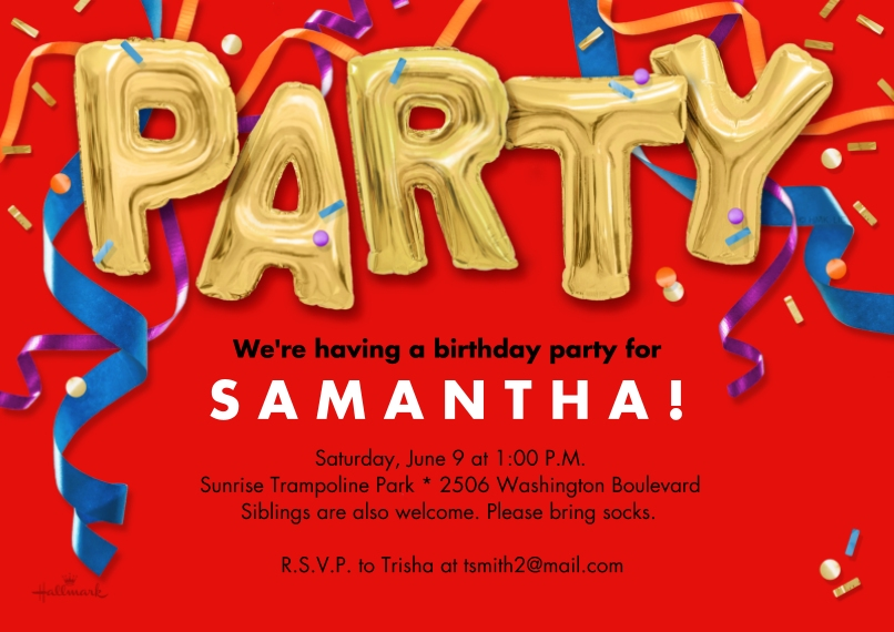 Birthday Party Invites 5x7 Cards, Premium Cardstock 120lb with Rounded Corners, Card & Stationery -Party Balloons