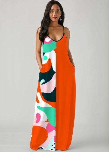 Rosewe Women Orange Spaghetti Strap Straight Sleeveless Bohemian Party Dress With Side Pockets Maxi Tunic Casual Dress - M