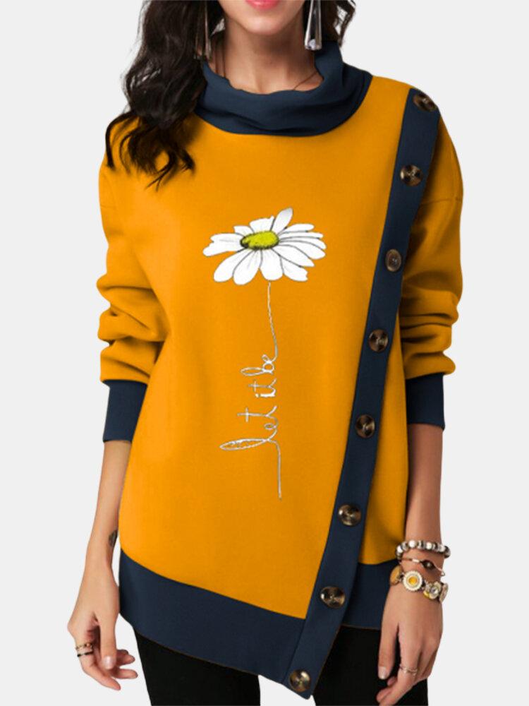 Flower Print Pile Collar Button Asymmetrical Plus Size Sweatshirt