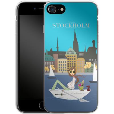 Apple iPhone 8 Silikon Handyhuelle - STOCKHOLM TRAVEL POSTER von IRMA