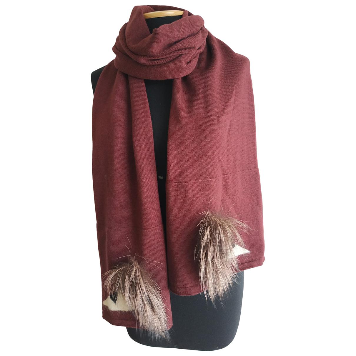 Fendi - Foulard   pour femme en laine - bordeaux