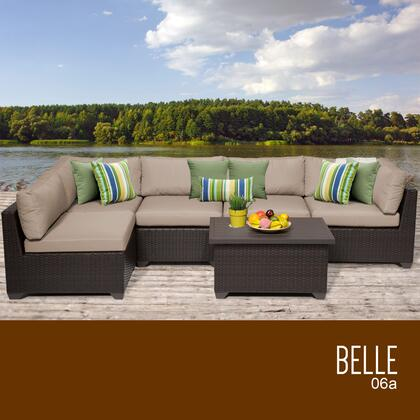BELLE-06a-WHEAT Belle 6 Piece Outdoor Wicker Patio Furniture Set 06a with 2 Covers: Wheat and
