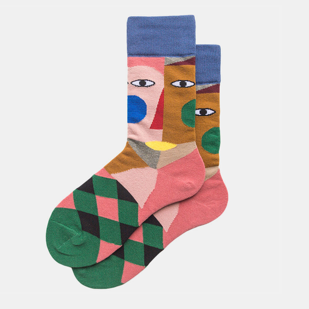 Couple Autumn And Winter Socks Color Art Tide Abstract Clown Fashion Street Socks