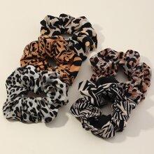 5 Stuecke Scrunchie mit Leopard Muster