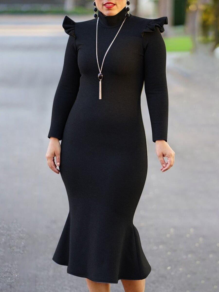 LW Lovely Sweet Turtleneck Flounce Design Black Mid Calf Dress