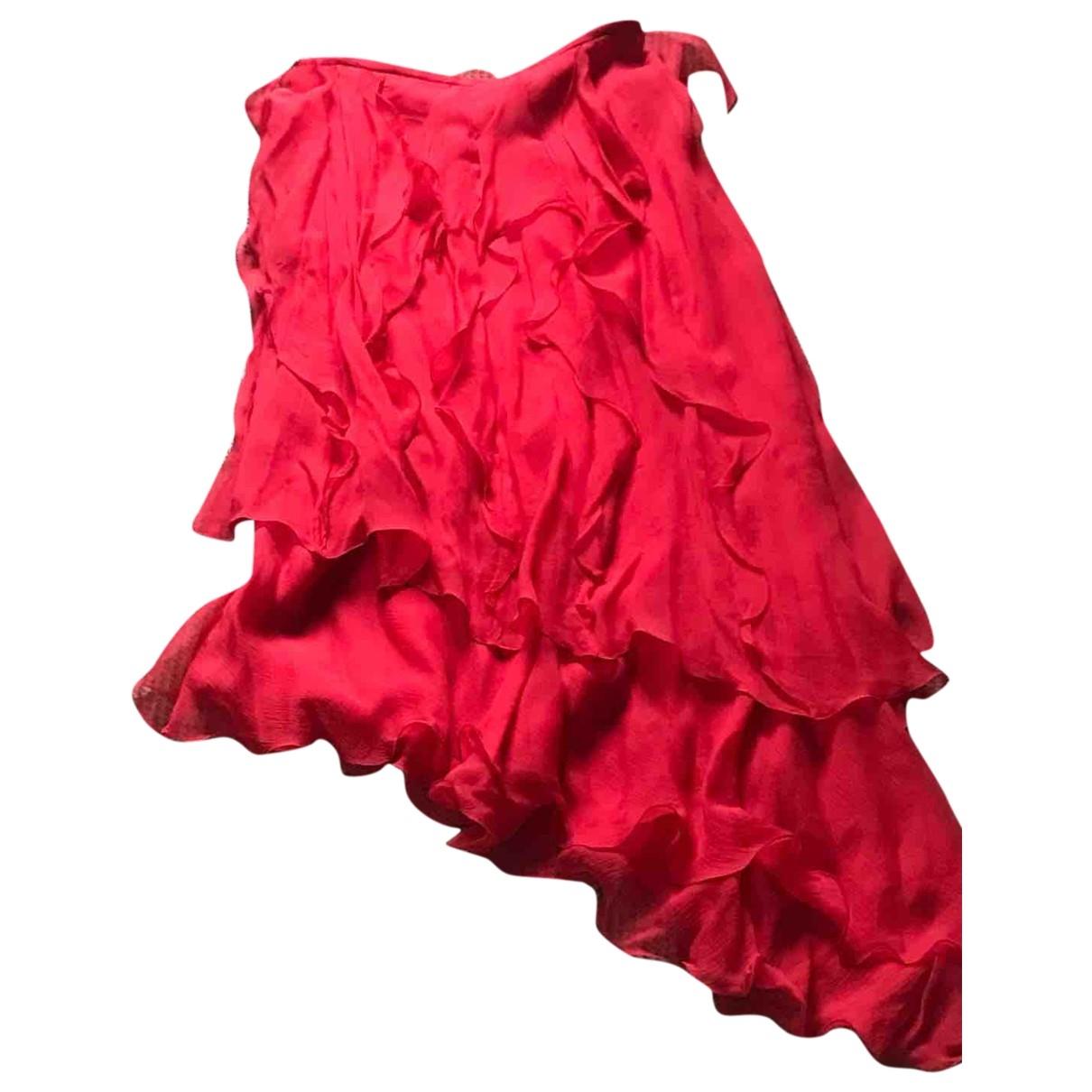 - Jupe Hippie Chic pour femme en soie - rouge