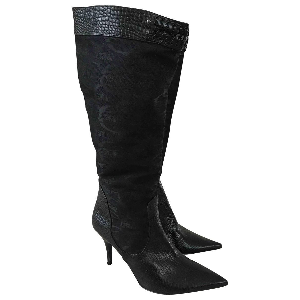Just Cavalli \N Stiefel in  Schwarz Leder