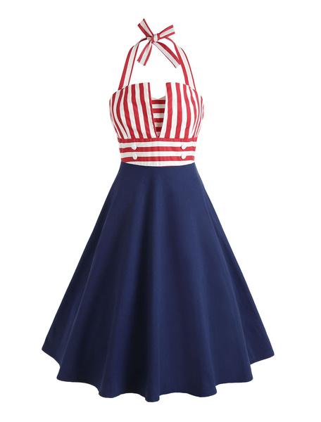 Milanoo Vestido de verano de las mujeres vestido retro del halter Vestido de verano anudado a rayas