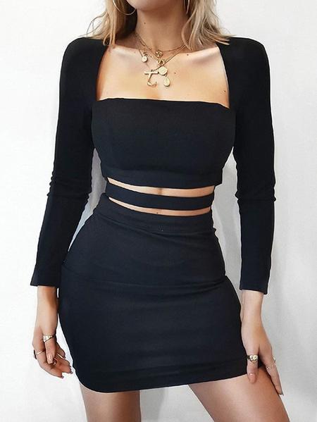Yoins Elastic Strap Cut Out Design Square Neck Long Sleeves Dress
