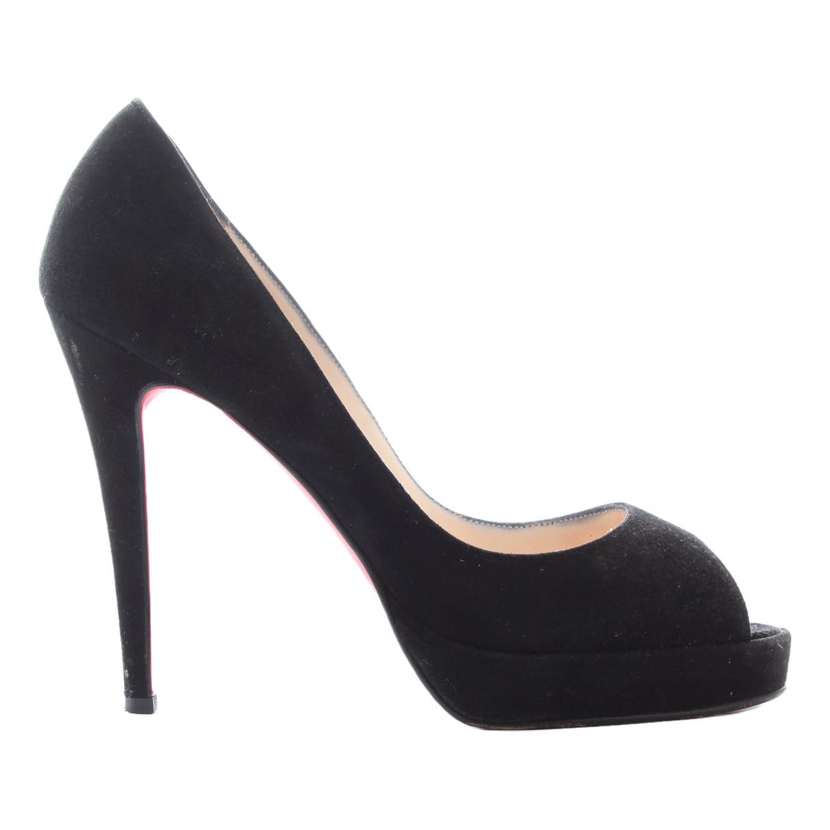 Christian Louboutin Lady Peep Black Suede Heels for Women 37.5 EU