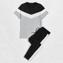 Men Color Block Tee & Contrast Side Seam Drawstring Pants Set