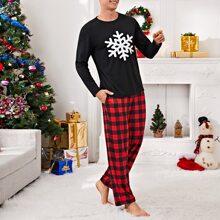 Schlafanzug Set mit Weihnachten Schneeflocken und Karo Muster