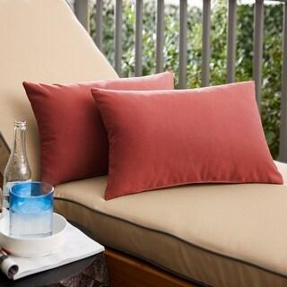 Sunbrella Canvas Henna Indoor/ Outdoor Knife Edge Pillow (Set of 2) (16 in H x 26 in W)