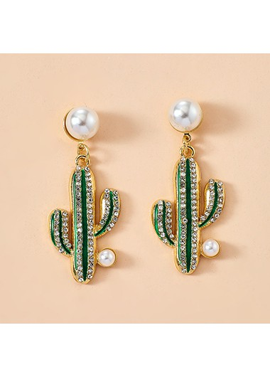 Mother's Day Gifts Rhinestone and Pearl Embellished Cactus Earring Set - One Size