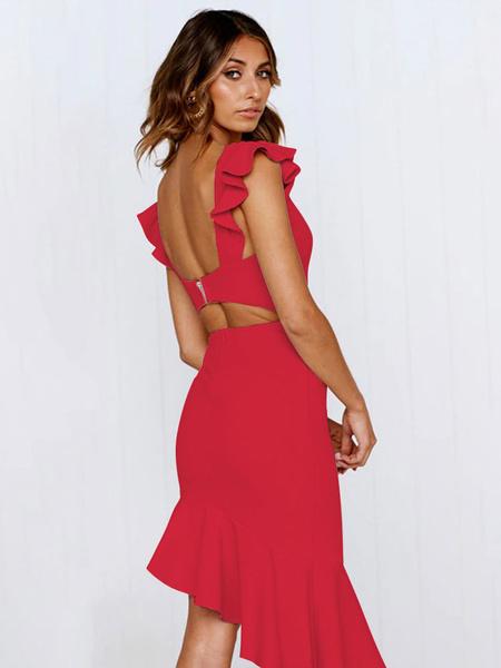 Milanoo Sexy Bodycon Dress V Neck Ruffles Sleeveless Irregular Hem Backless Women Dress