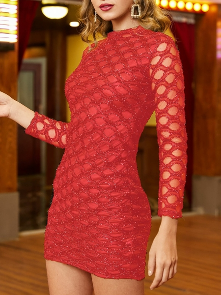 Yoins Red Hollow Design Long Sleeves Sparkling Dress