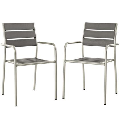 Shore Collection EEI-3203-SLV-GRY-SET Set of 2 Dining Chair Outdoor Patio Aluminum in Silver Grey