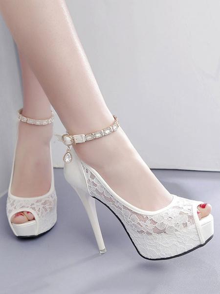 Milanoo Bridal Shoes Peep Toe High Heels Lace Rhinestones Ankle Strap Platform Pumps Wedding Shoes