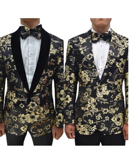 Mens Single Breasted Black ~ Gold Blazer