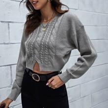 Strick Crop Pullover mit Schlitz und sehr tief angesetzter Schulterpartie