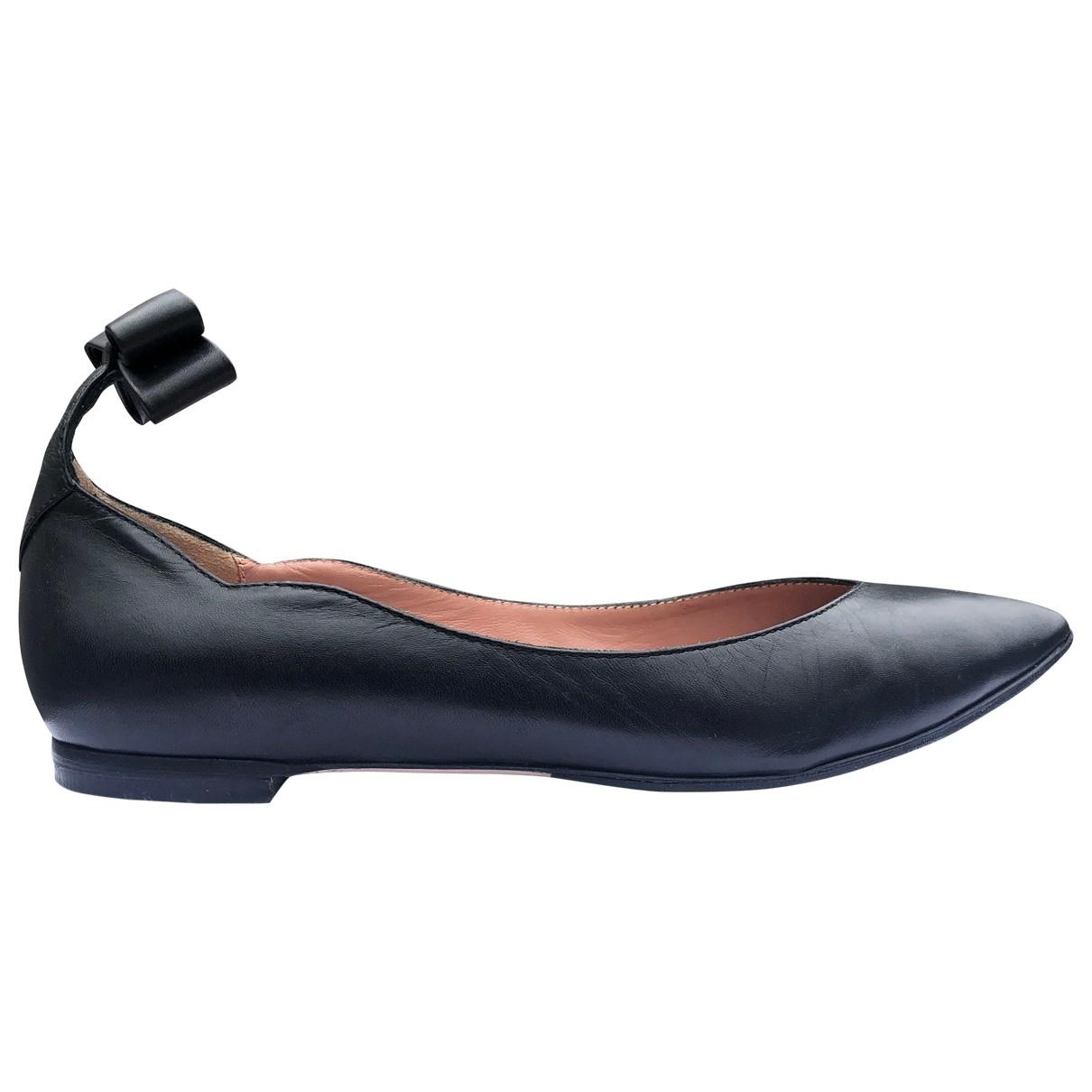 Red Valentino Garavani \N Black Leather Ballet flats for Women 38.5 EU
