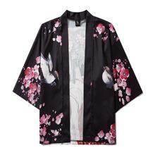 Kimono mit Figur und Blumen Muster