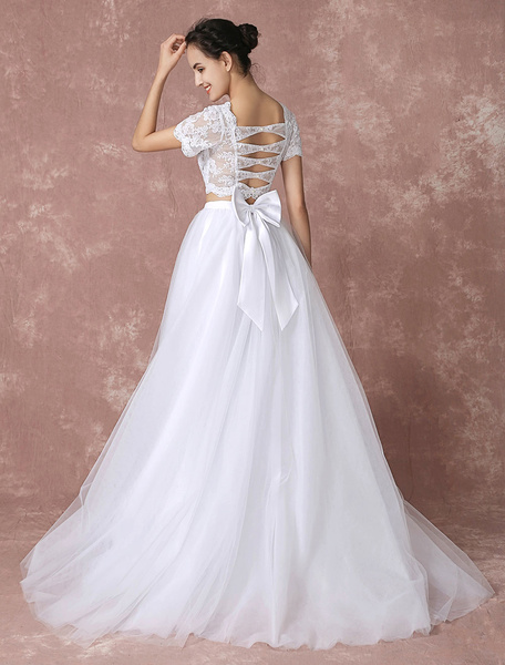 Milanoo Two Piece Prom Dress 2020 Long White Crop Top Lace Wedding Dress High Low Tulle Back Cut Out Court Train Bridal Dress With Ribbon Bow Sash