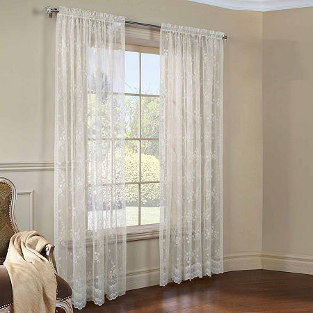 Mona Lisa Light-Filtering Rod-Pocket Single Curtain Panel, One Size , Beige