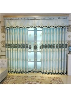 European Style Noble and Elegant Embroidered Custom Blue Grommet Curtain for Living Room Bedroom