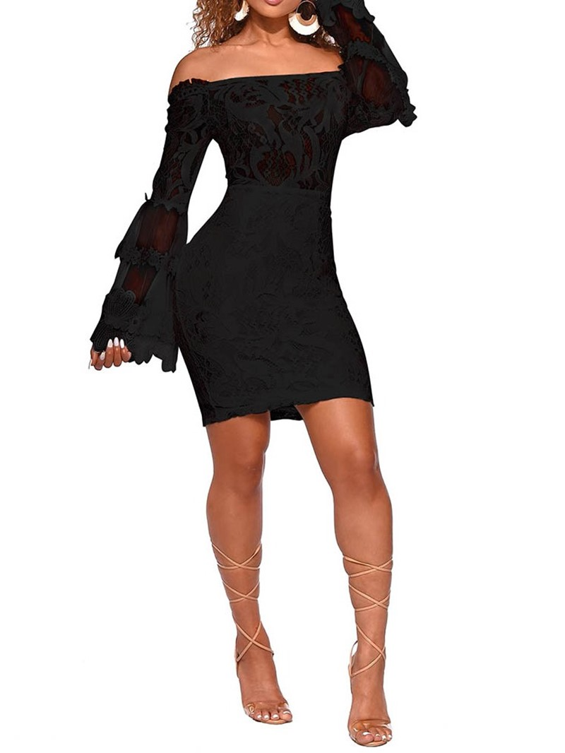 Ericdress Above Knee Lace Off Shoulder Mid Waist Plant Dress