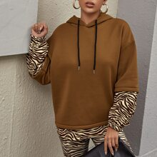 Drop Shoulder Zebra Stripe Colorblock Oversized Hoodie