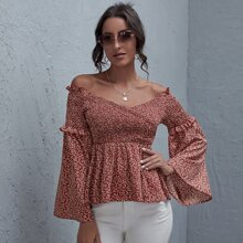 Off Shoulder Shirred Flounce Sleeve Ditsy Floral Peplum Top