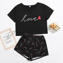Heart And Letter Graphic PJ Set