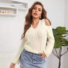 Solid Cold Shoulder Cable Knit Sweater
