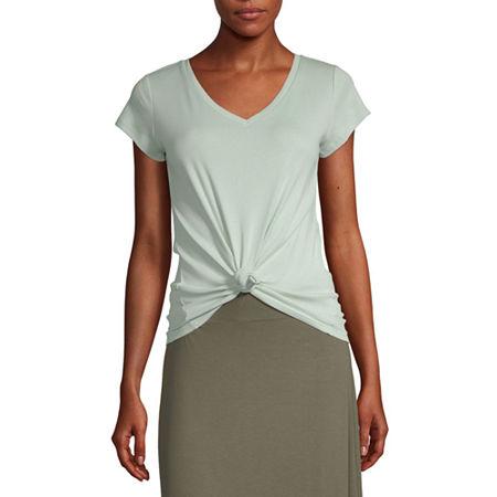 Liz Claiborne-Womens V Neck Short Sleeve T-Shirt, Xx-large , Green