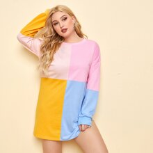 Plus Colorblock Drop Shoulder Sweatshirt Dress