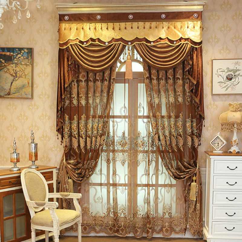 European Luxurious Delicate Embroidered Decorative Custom Sheer Curtains for Living Room Bedroom