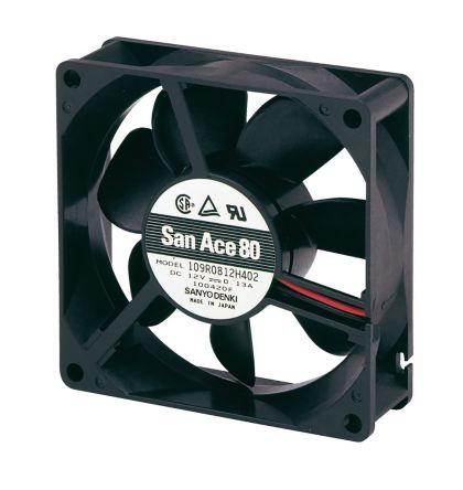 Sanyo Denki , 12 V dc, DC Axial Fan, 80 x 80 x 25mm, 72m³/h, 2.16W