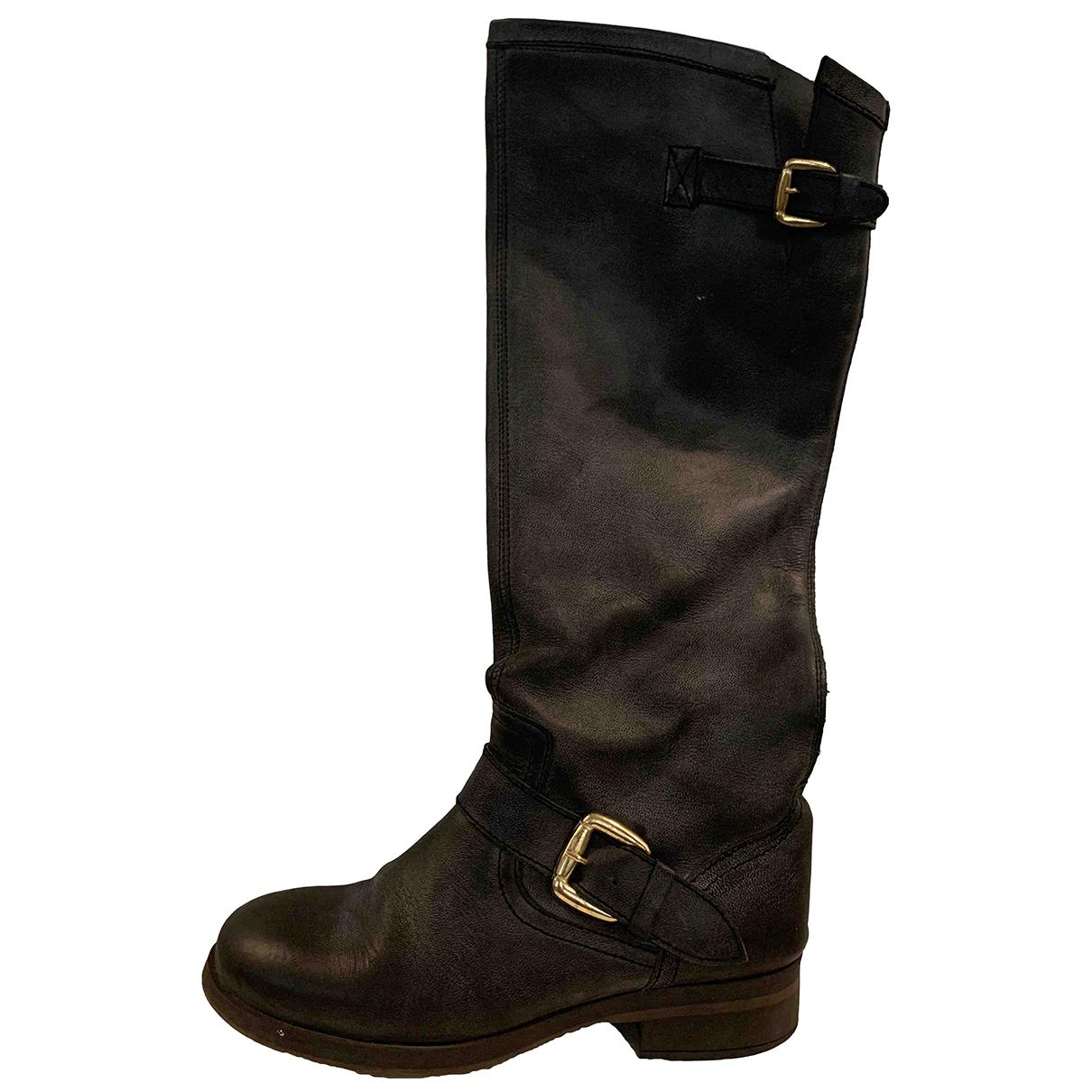 Steve Madden - Boots   pour femme en cuir - gris