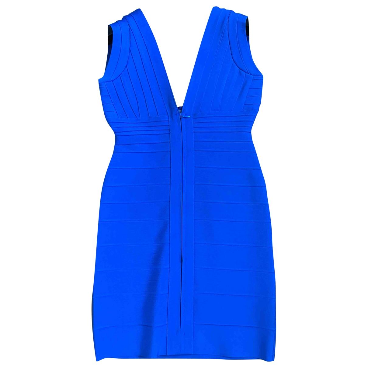 Herve Leger \N Kleid in  Blau Baumwolle - Elasthan