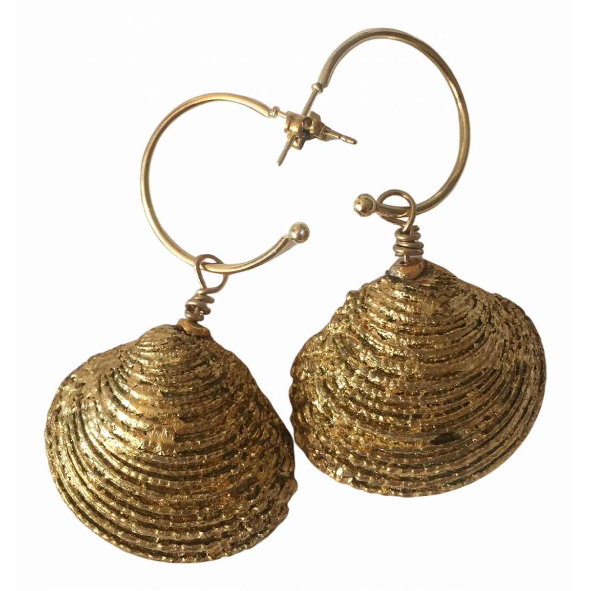 Non Signe / Unsigned Motifs Coquillages OhrRing in  Gold Metall