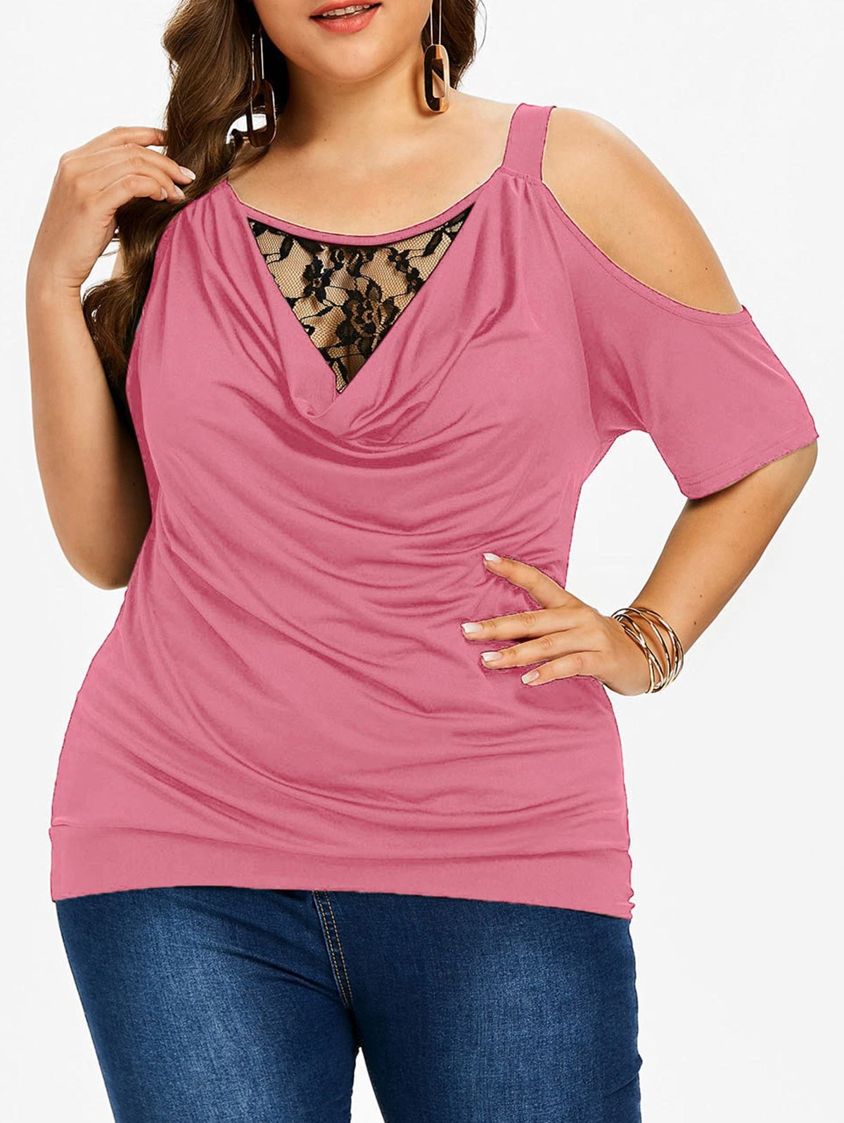 Plus Size Lace Insert Cowl Neck T-shirt