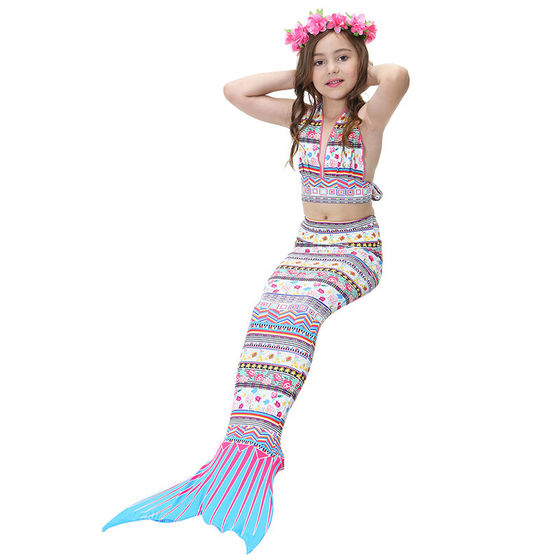 3Pcs Bohemian Style Girls Mermaid Tail Bikini Sets Bathing Suit Swimwear For 4Y-13Y