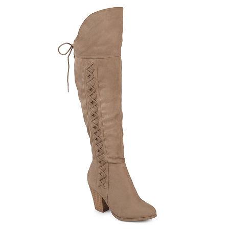 Journee Collection Womens Spritz Dress Boots Block Heel, 6 1/2 Medium, Beige
