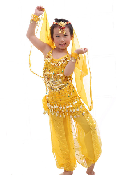 Milanoo Belly Dance Costume Kids Red Chiffon Sleeveless Indian Bollywood Dancing Costumes