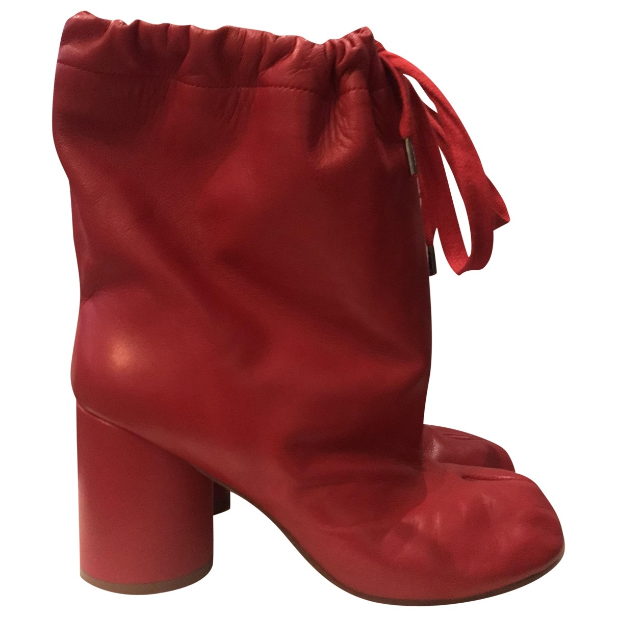 Maison Martin Margiela - Boots Tabi pour femme en cuir - rouge