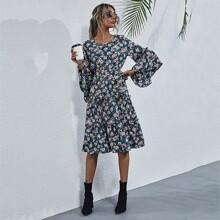 Allover Floral Print A-line Dress