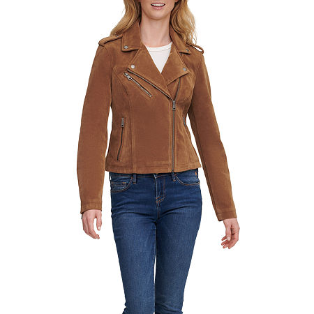 Levis Faux Suede Midweight Motorcycle Jacket, Small , Brown