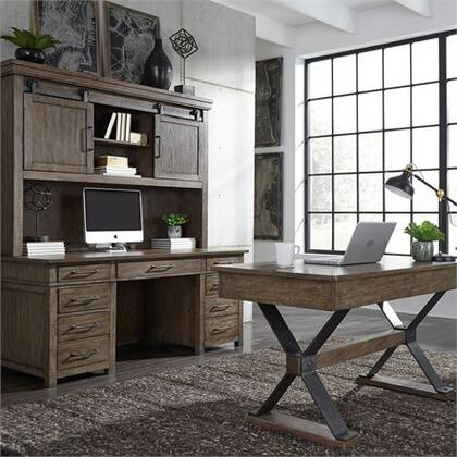 Sonoma Road Collection 473-HO-CDS Desk Set with Antique Pewter Bar Pull Hardware  Full Extension Metal Drawer Glides and Hutch Features Sliding Barn